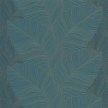 Vliesové tapety na stenu Bali listy zeleno-čierne so zlatými kontúrami
