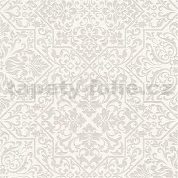 Vliesové tapety na stenu Bali zámocký vzor svetlo hnedý na bielom podklade