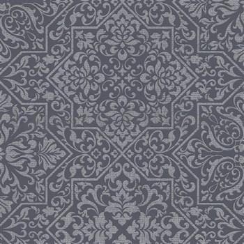 Vliesové tapety na stenu Bali zámocký vzor čierny na striebornom podklade