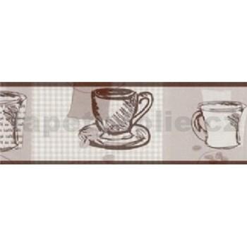 Samolepiaca bordúra - hrnčeky hnedé 5 m x 6,9 cm