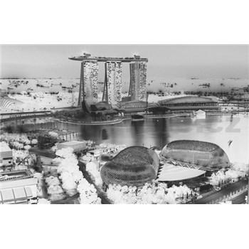 Luxusné vliesové fototapety Singapore - čiernobiele, rozmer 418,5 x 270cm