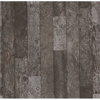 Vliesové tapety na stenu Einfach Schoner 3 drevené dosky čierno-sivé s čiernymi ornamentami