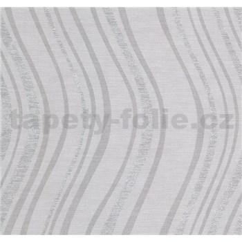 Vliesové tapety na stenu Einfach Schoner 3 vlnovky strieborné na sivom podklade - POSLEDNÉ KUSY