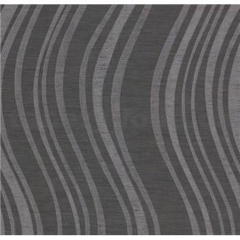 Vliesové tapety na stenu Einfach Schoner 3 vlnovky strieborné na čiernom podklade