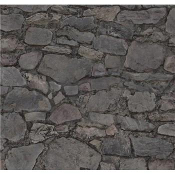 Vliesové tapety na stenu Einfach Schoner 3 kameň skladaný fialovo-čierny - POSLEDNÉ KUSY