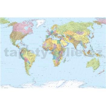 Vliesové fototapety mapa sveta, rozmer 368 x 248 cm