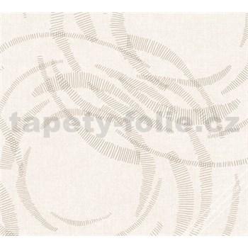Vliesové tapety na stenu MERINO moderné metalické kruhy krémové