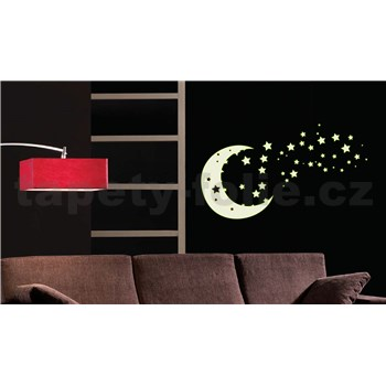 Samolepky na stenu mesiac a hviezdy - v tme svieti