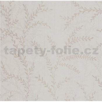 Vliesové tapety na stenu Seasons lístky béžové na bielom podklade