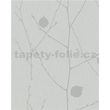 Vliesové tapety na stenu Summer Time vetvy s listami sivoo-strieborné