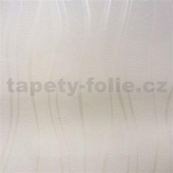 Vinylové tapety na stenu vlnovky biele s perleťou