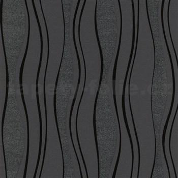 Vliesové tapety na stenu vlnovky matné čierne, lesklé a trblietavé