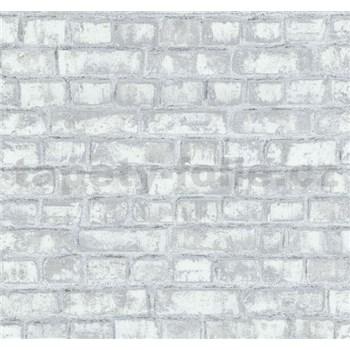 Vliesové tapety na stenu Easy Wall tehla sivo-biela