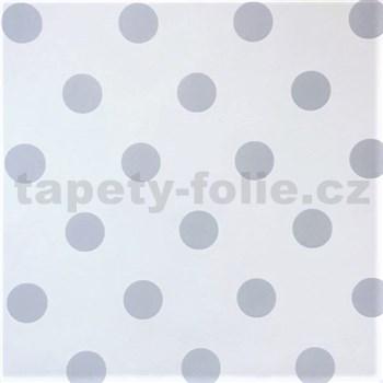 Vliesové tapety na stenu bodky sivé na bielom podklade