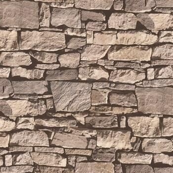 Vinylové tapety Virtual Reality kamenný múr hnedý