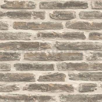 Vliesové tapety na stenu Roll in Stones kamenná múr sivo-béžová
