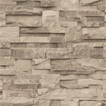 Vliesové tapety na stenu Roll in Stones kamenný obklad hnedo-sivý