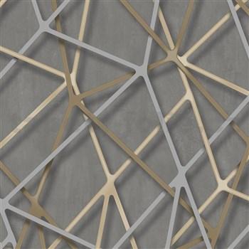 Vliesové tapety na stenu IMPOL Galactik 3D hrany béžovo-strieborné na hnedom podklade