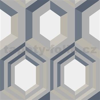 Vliesové tapety na stenu IMPOL Galactik geometrický vzor strieborno-modro-béžový