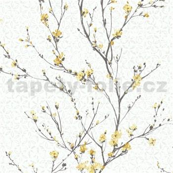 Vliesové tapety na stenu IMPOL Jardin Secret vetvičky s okrovo žltými kvetmi na krémovom podklade