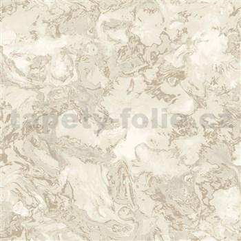 Vliesové tapety na stenu IMPOL Reflets mramor bielo-béžový s niklovými odleskami