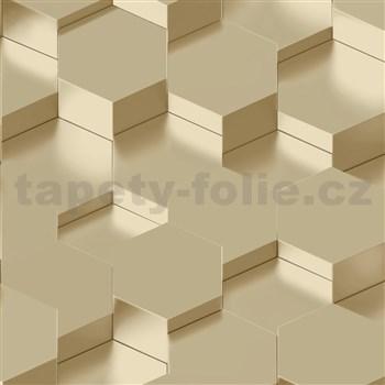 Vliesové tapety na stenu IMPOL Galactik 3D hexagony zlatavo hnedé