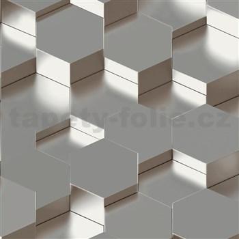 Vliesové tapety na stenu IMPOL Galactik 3D hexagony kovovo hnedo-sivé