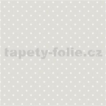 Vliesové tapety na stenu IMPOL biele bodky na sivom podklade