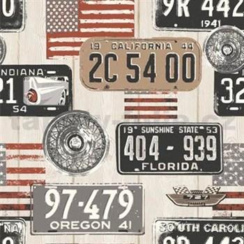 Vinylové tapety na stenu Kaleidoscope drevené dosky s automobilovými značkami