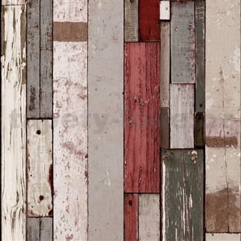 Vliesové tapety na stenu Virtual Vision drevené doštičky hnedo-červené