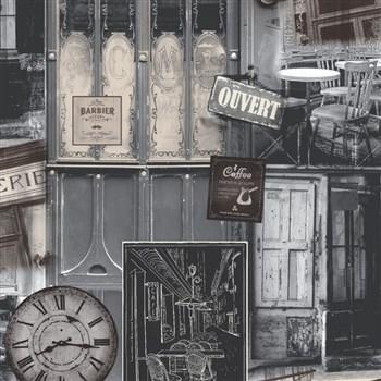 Vliesové tapety na stenu Virtual Vision Coffee hnedo-sivé