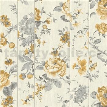 Vliesové tapety na stenu Virtual Vision drevené laty s kvetmi okrové