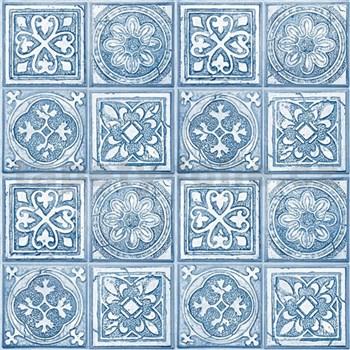 Vliesové tapety na stenu Virtual Vision obklad s ornamentom modrý