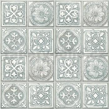 Vliesové tapety na stenu Virtual Vision obklad s ornamentom sivo-zelený