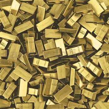 Vinylové tapety na stenu Faux Semblant tehly zlata