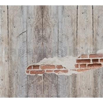 Luxusné vliesové fototapety dosková stena s tehlami BEZ TEXTU 300 x 270cm