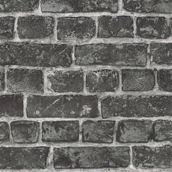 Vliesové tapety IMPOL Wood and Stone 2 tehly čierne