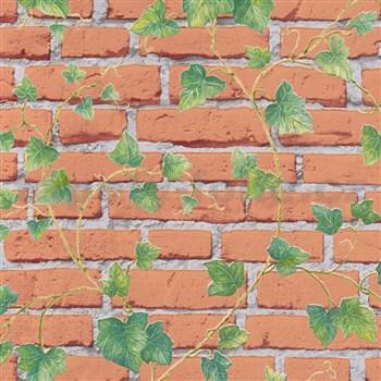Vliesové tapety IMPOL Wood and Stone 2 tehlová stena s popínavým brečtanom