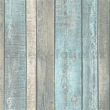 Vliesové tapety IMPOL Wood and Stone 2 dosky svetlo modro-hnedé