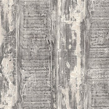 Vliesové tapety IMPOL Wood and Stone 2 hobľované dosky s hnedou patinou