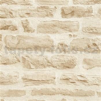 Vliesové tapety IMPOL Wood and Stone 2 ukladaný kameň béžový