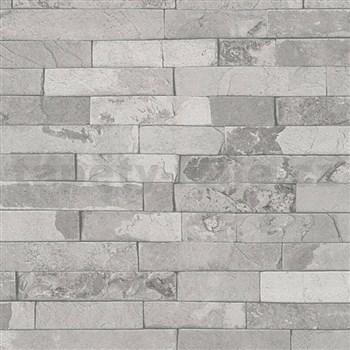 Vliesové tapety IMPOL Wood and Stone 2 obkladový kameň štiepaná bridlica svetlo sivá