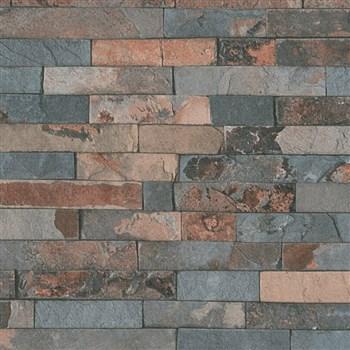 Vliesové tapety IMPOL Wood and Stone 2 obkladový kameň štiepaná bridlica hrdzavo-sivá