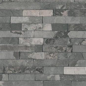 Vliesové tapety IMPOL Wood and Stone 2 obkladový kameň štiepaná bridlica sivá