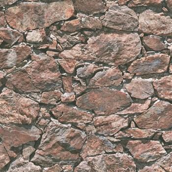 Vliesové tapety IMPOL Wood and Stone 2 ukladaný kameň tmavo hnedý