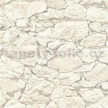 Vliesové tapety IMPOL Wood and Stone 2 ukladaný kameň bielo-sivý