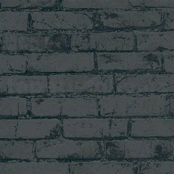 Vliesové tapety IMPOL Wood and Stone 2 tehly so štruktúrou čierne