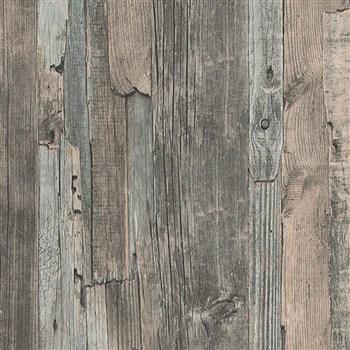 Vliesové tapety IMPOL Wood and Stone 2 drevo vintage hnedo-sivé
