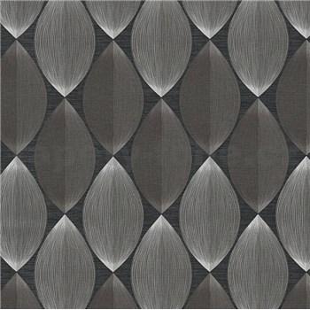 Vinylové tapety na stenu Adelaide retro vzor sivo-biely na čiernom podklade