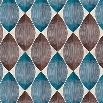 Vinylové tapety na stenu Adelaide retro vzor hnedo-modrý na krémovom podklade
